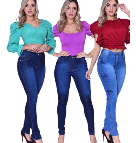 3 Calças Jeans C/ Elastano Feminina Cintura Alta - Barata