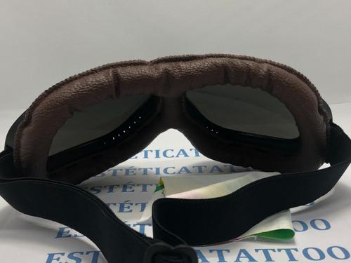 Óculos Vintage Armação Preta Lente Espelhada Proteção Couro