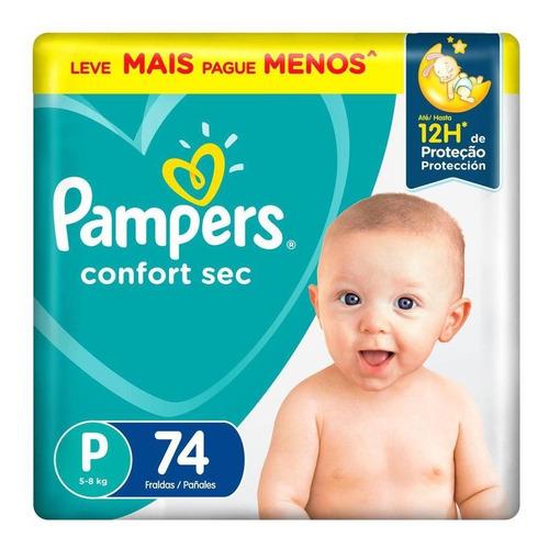 Fralda Pampers Confort Sec Pack Tamanho P 74 Unidades