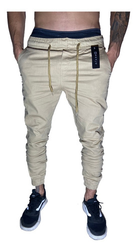 Calças Jeans Camuflada Masculina Jogger Com Punho Elastico