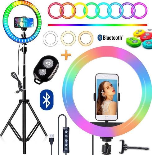Kit Iluminador Ring Light Colorido Tripé Celular Bluetooth