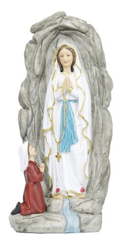 Imagem Nossa Senhora De Lurdes Na Gruta Em Resina -30cm