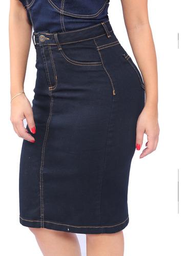 Kit 2 Saias Midi Jeans Social Evangelica Cintura Alta Lycra