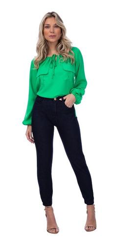 Calça Jeans Feminina Super Skinny Elastano Azul Escuro