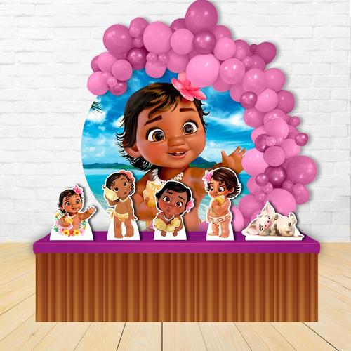 Painel Festa Decoração Redondo Moana Baby + Displays