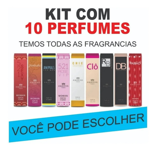 Kit C/ 10 Perfumes Lançamento Amakha Paris 12x Sem Juros