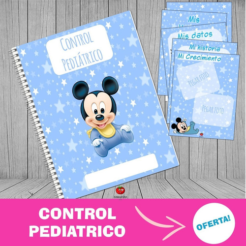 Cuaderno Control Pediatrico Mickey Imprimible