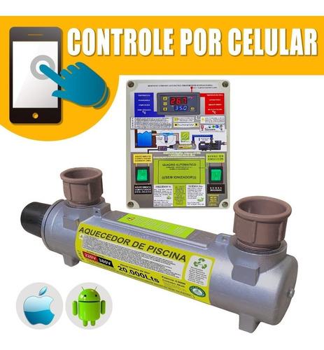 Aquecedor De Piscina 20.000l Aço Inox Auto.bi C/ Mod Celular