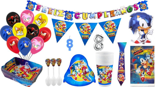 Kit Decoración Fiesta Infantil Sonic Boom Con Bouquet