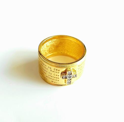 Anel Do Pai Nosso Banhado A Ouro 18k Com Cruz Cravejada