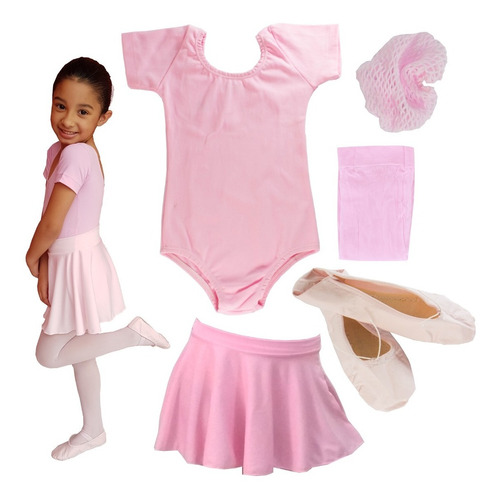 Kit Roupa De Ballet Infantil Completo Balé Bailarina Rosa