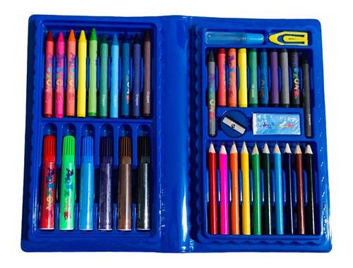 Maleta Pintura Infantil Estojo Escolar Menino Menina 48 Pçs