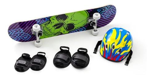 Skate Infantil + Acessórios Segurança E Proteção Com 5 Itens