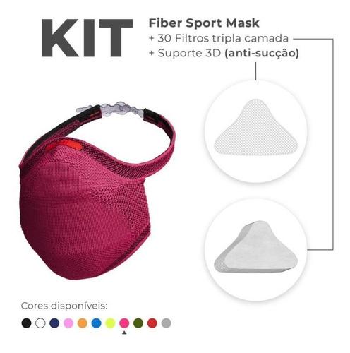 Kit 1 Máscara 3d Knit Fiber + 30un Refil + Suporte De Filtro