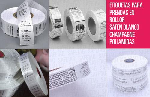 1000 Etiquetas De Tela Para Ropa Talles Composicion Logos - Grifas Coser - Autoadhesivas Termotransferibles Planchables