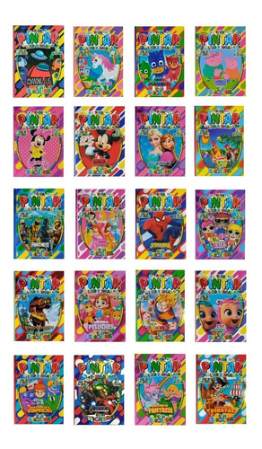 20 Libros P/ Colorear 16 Páginas + Plancha Stickers A Pintar
