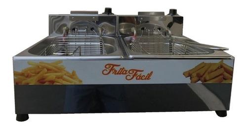 Fritadeira Elétrico 2 Cubas 10l Inox Frita Fácil 4400w