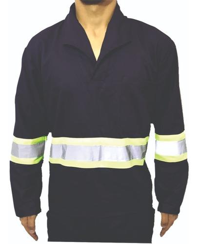 Camisa Brim Manga Longa C/ Refletivo Uniforme Azul Marinho