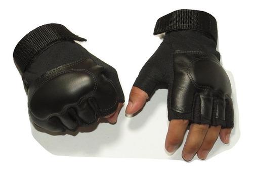 Luva Couro Legitimo Meio Dedo Proteção Conforto Motoqueiro