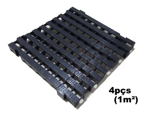 4pçs Palete Estrado Plástico Preto 4,5x50x50cm - 1m²