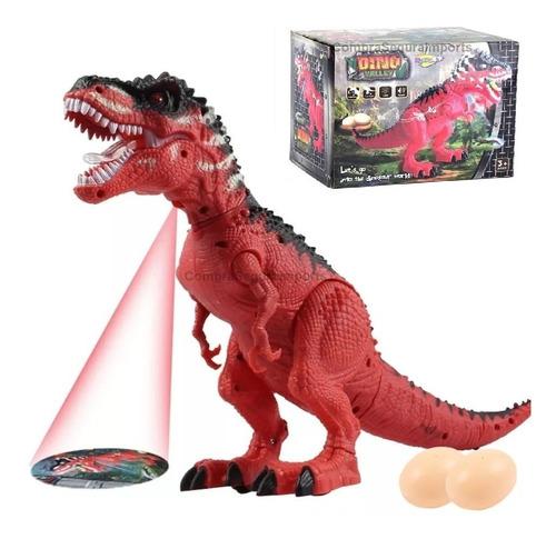 Dinossauro T Rex Bota Ovo Anda C/ Som E Projetor De Luz 30cm