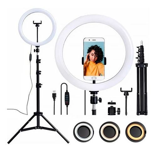 Ring Light Led Iluminador 26cm Completo 2, 1m Tripé 210cm