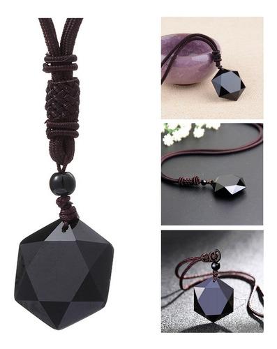 Colar Cordão Masculino Estrela Pedra Obsidiana Amuleto