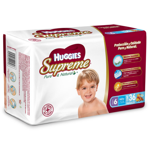 Pañales Huggies Supreme Etapa 6 Niños Xxg 36u