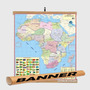 Mapa Africa Africano 120x90 Banner Laminado Gigante Moldura