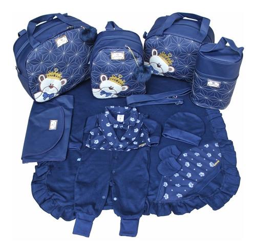 Kit Saída Maternidade + Bolsas 5pcs Menino Azul Marinho Liso