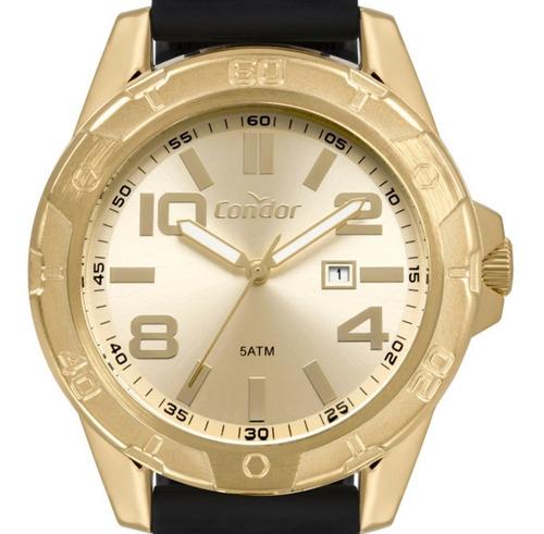 Relógio Condor Masculino Dourado Silicone Co2115kut/2d