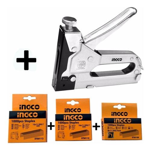 Kit Para Engrampadora Industrial Ingco + 3 Cajas De Grampas