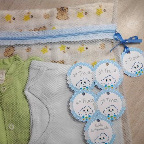 Saquinho Maternidade C/ 4 Unidades + Tag Nuvem Menino