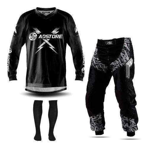 Conjunto Trilha Motocross Camisa Insane Black Ad Store Meiao