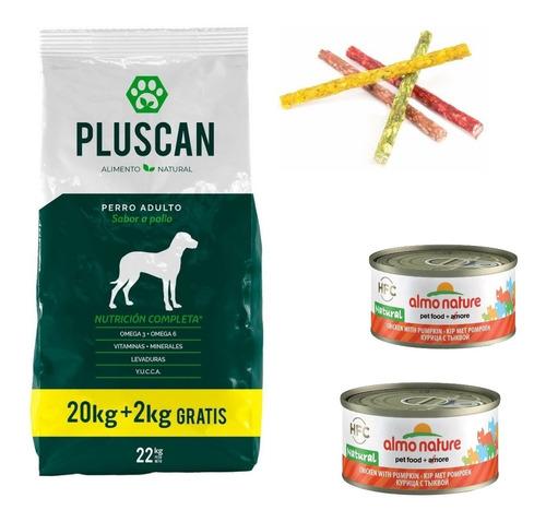 Racion Pluscan Perro Adulto 22 Kilos+2almo Lata+snack