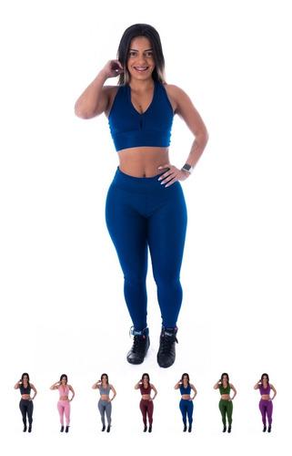 Kit Conjunto Roupa Academia 1 Top E 1 Calça Fitness Suplex