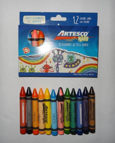 Creyones Cera Jumbo Artesco Con Sacapunta ( 12 Colores )