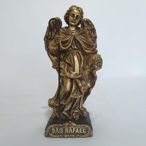 Imagem São Rafael Arcanjo. 15cm. Cor: Dourado. Resina