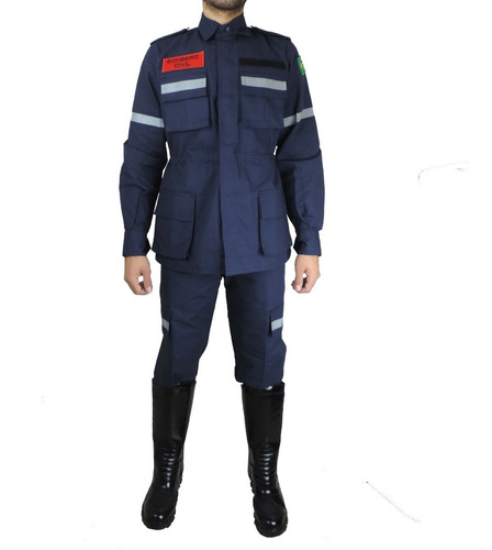 Farda Tática Bombeiro Civil C/ Refletivo Azul Marinho