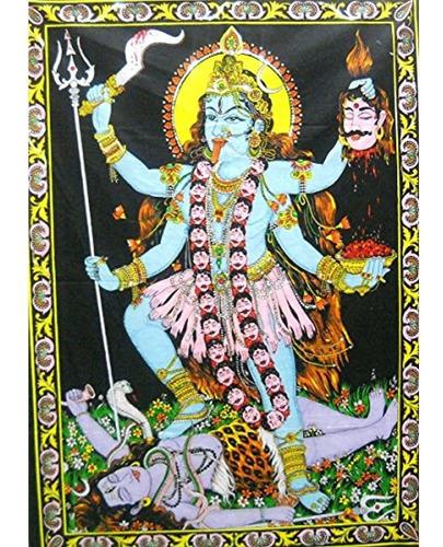 Diosa Kali Hindu Diosa Lentejuelas Batik Algodon Tapiz Par