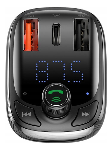 Transmissor Fm Carregador Turbo Baseus 2 Usb Pendrive