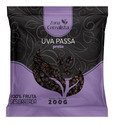 Uva Passa Preta Sem Semente Zona Cerealista 200g
