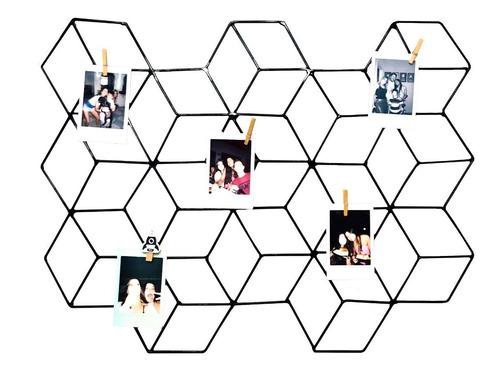 Memory Board Cubo 3d Colméia Fotos 68x52cm Preto