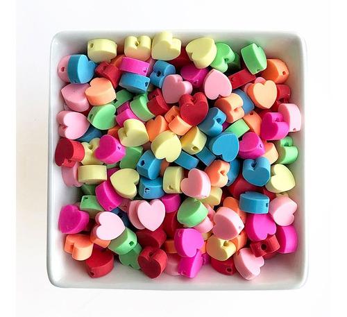 Miçanga Coração Infantil P/ Pulseiras E Colares, 50 Pçs