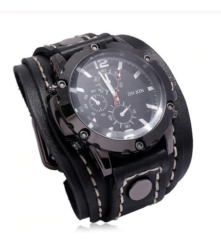 Relógio Bracelete Pulseira Couro Larga Masculino Cor Marrom
