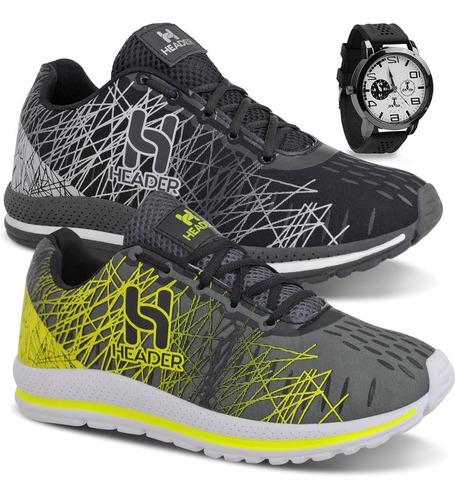 Kit 2 Tênis Masculino Spider Caminhada Academia + Relógio