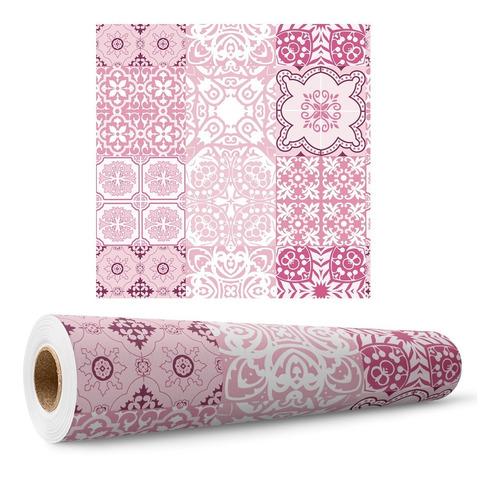 Papel De Parede Azulejos Português Rosa Cozinha Banheiro 3m