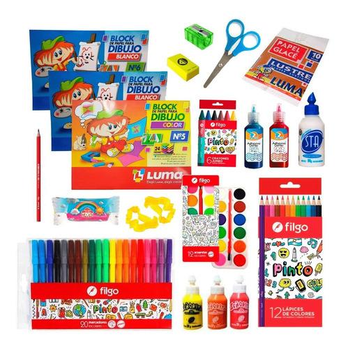 Kit Arte En Casa Para Niños Block Dibujo Lapices Colorear 2