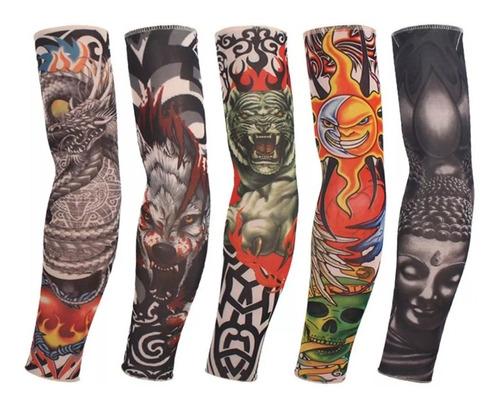 Kit 6 Fake Tattoo Segunda Pele Sleeve Tatuagem Falsa Manga