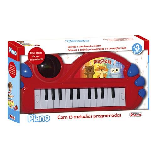 Brinquedo Musical Teclado Piano Com Luz E Som Musicas Rosita